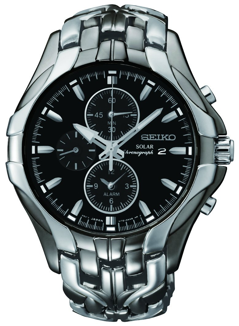 Seiko Men's SSC139 Excelsior Gunmetal and Silver-Tone Stainless Steel Solar Watch by SEIKO