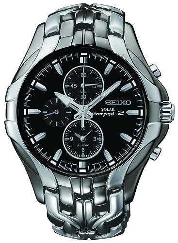Seiko De los Hombres SSC139 Excelsior Gunmetal y Reloj Solar de Acero Inoxidable Plateada: Amazon.es: Relojes