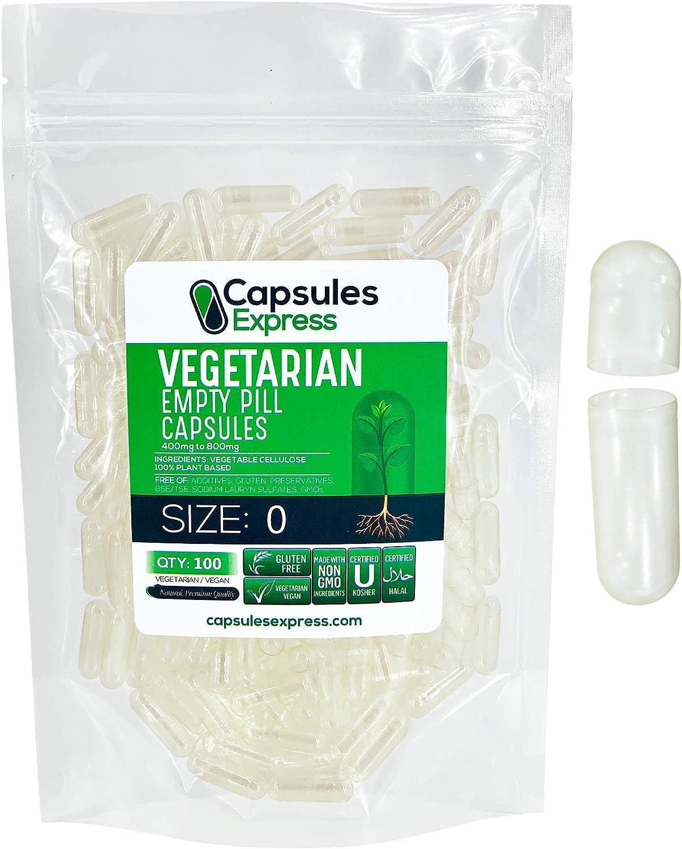 Capsules Express- Size 0 Clear Empty Vegan Capsules 100 Count - Kosher and Halal - Vegetarian/Vegetable Pill Capsule - DIY Powder Filling