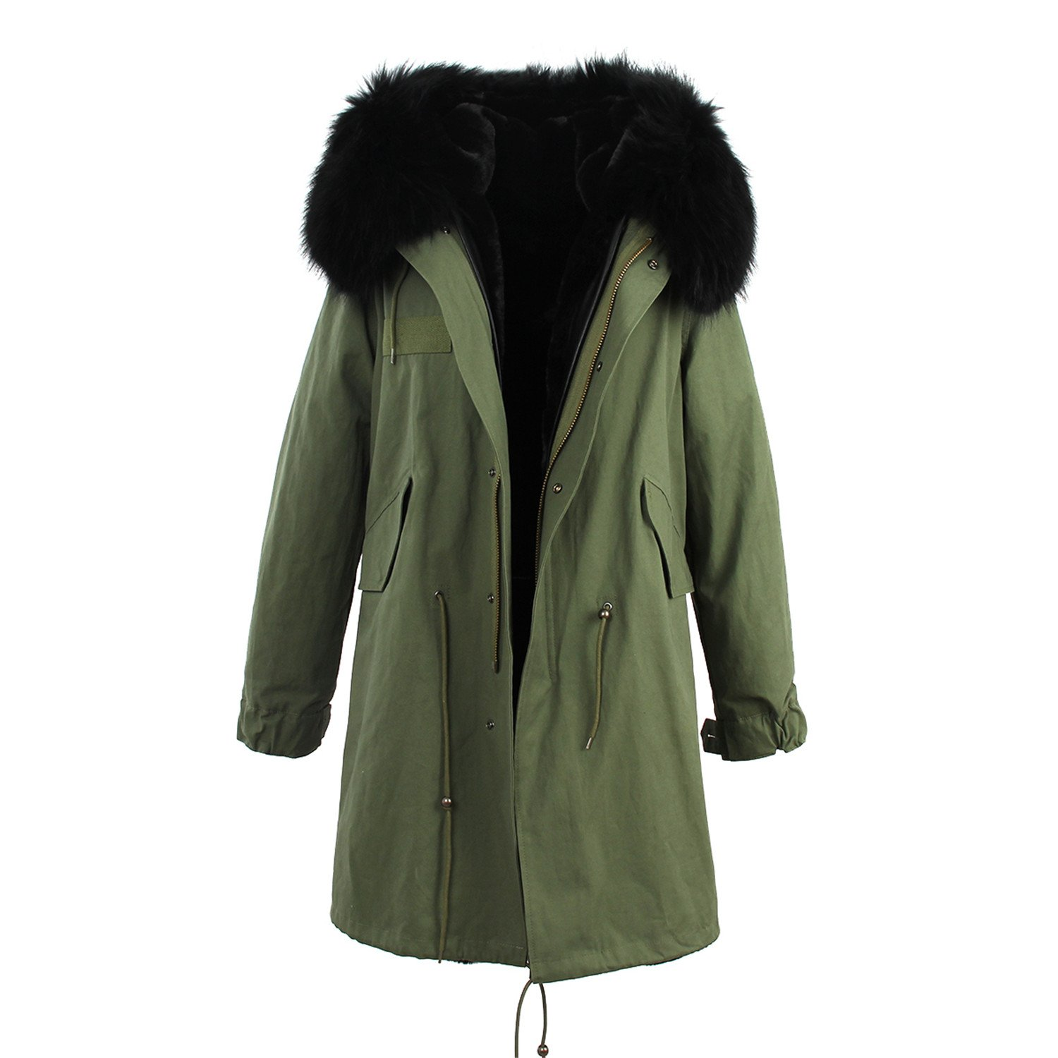 ADC-Hotsell women's army green Large color raccoon fur hooded coat outwear long detachable lining winter jacket brand style color 9 M
