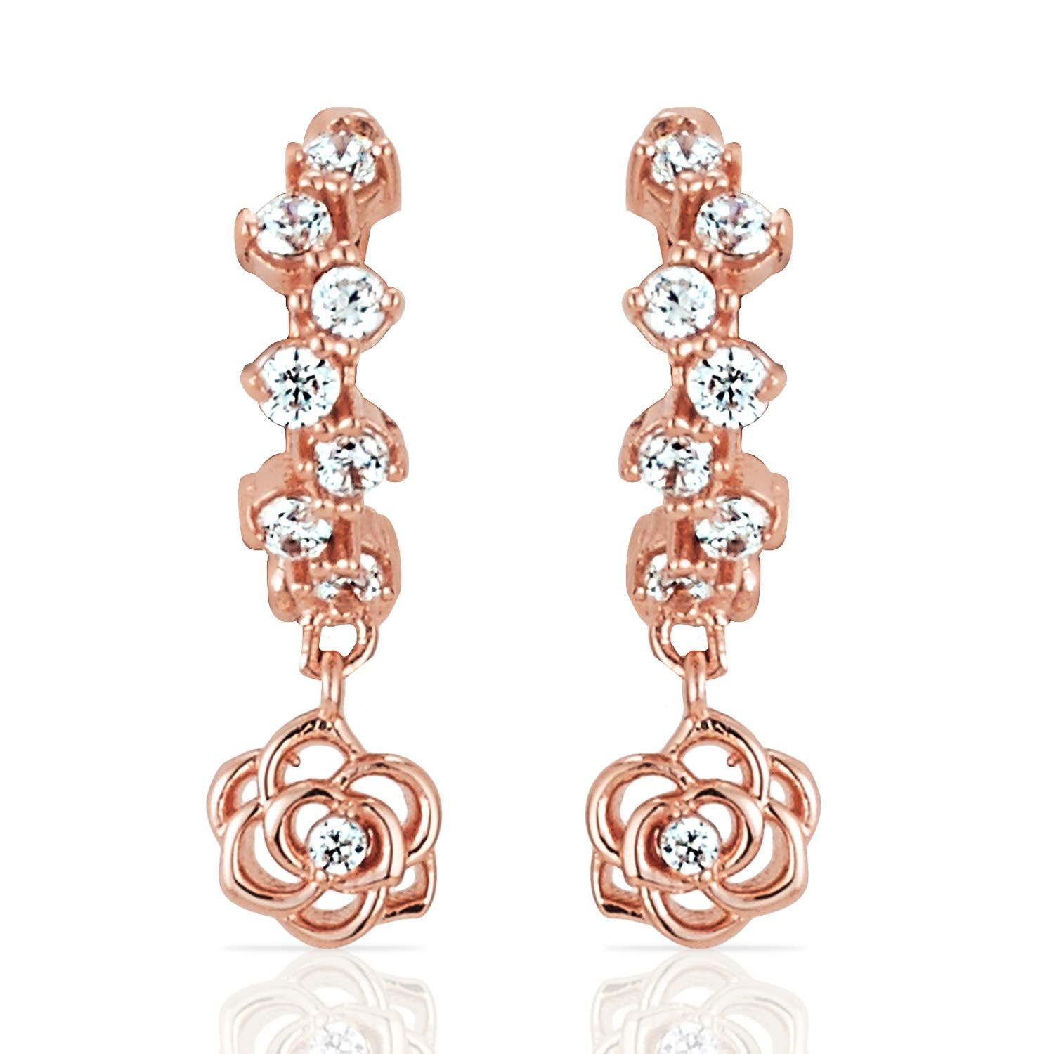 Real 14k Rose Gold Offset Pave Hoop Earrings with Filligree Rose and CZ for Women and Girls