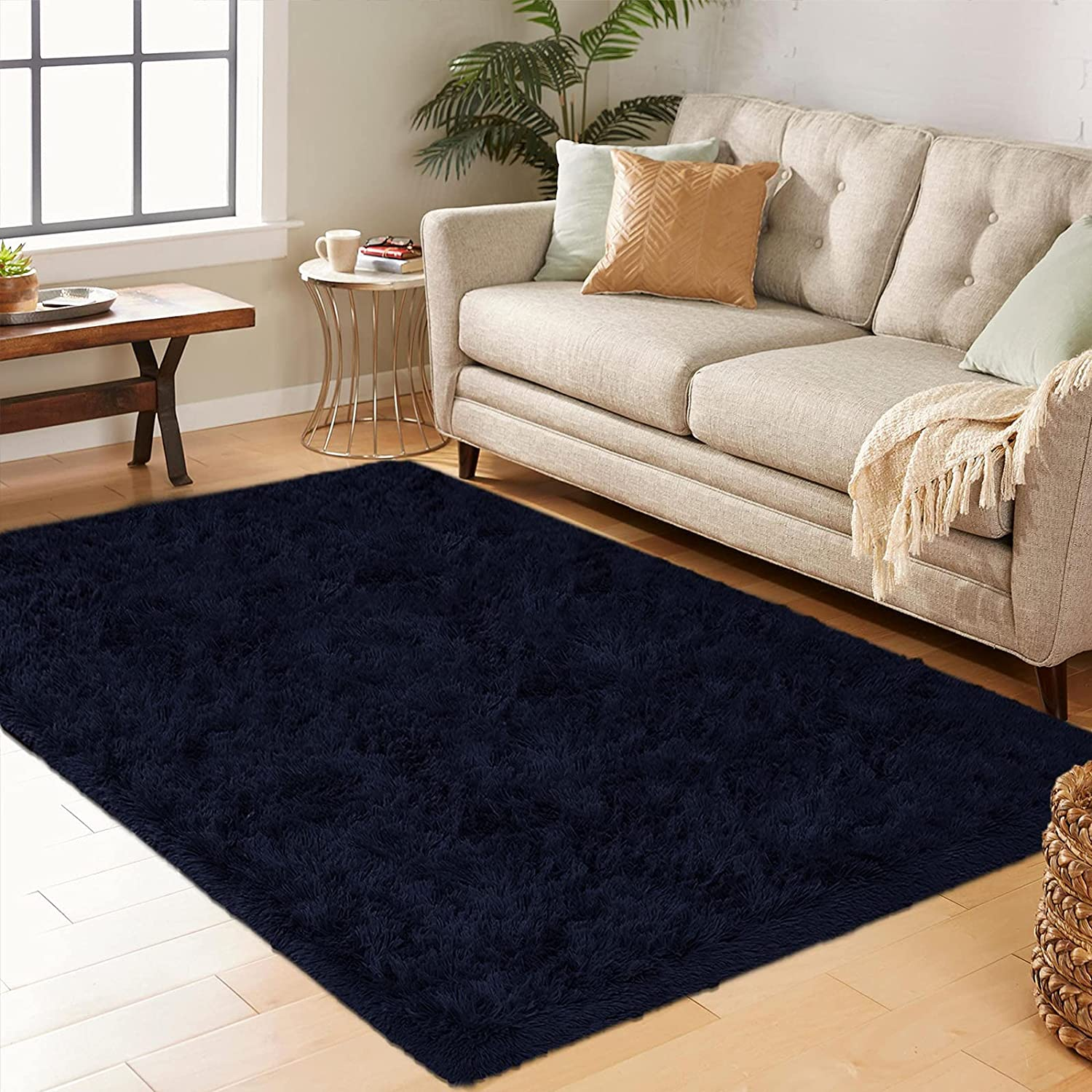Cetoton Super Soft Fluffy Area Rug for Living Room, Plush Shag Rugs for Bedroom, Shaggy Fuzzy Carpet for Kids Room Nursery Boys Girls Furry Comfy Cozy Home Decor Accent Indoor Floor Mat 5x8 Navy