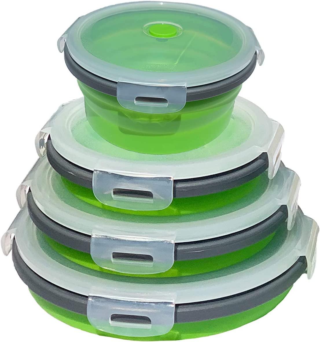 EVARIT Collapsible Silicone Food Storage Containers Collapsible Bowls Round Silicone Lunch Containers BPA Free - Set of 4