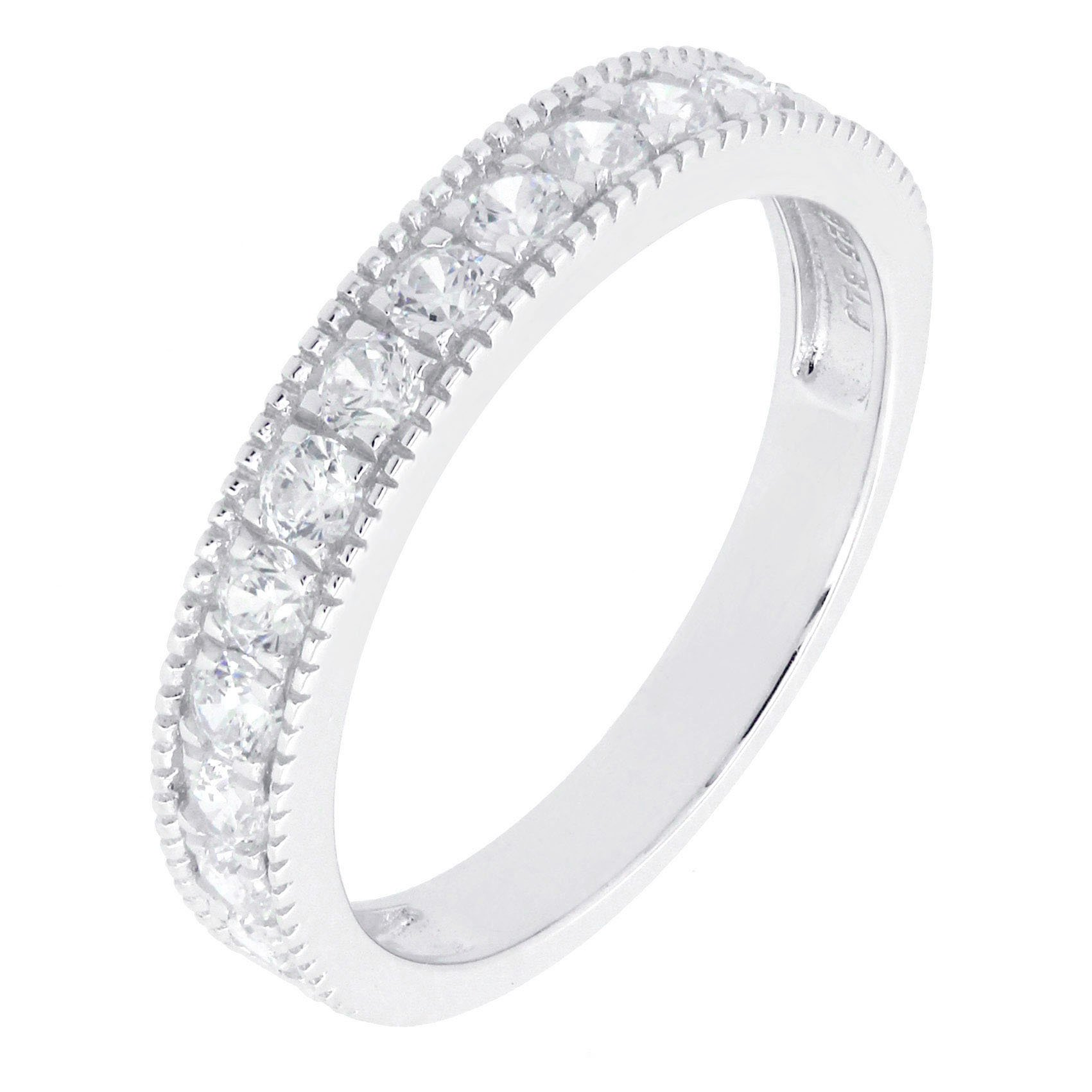 BL Jewelry Sterling Silver Created White Blue Pink Sapphire Stackable Half Eternity Band Ring (8, white-topaz)