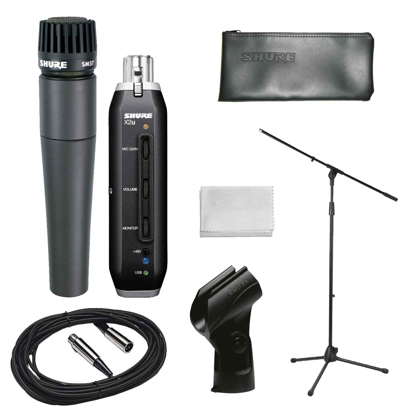 Shure Home Recording Studio Start-up Kit With Shure SM57 Microphone, Shure  X2U XLR-to-USB Audio Interface, 20-Foot XLR Cable, Boom Stand, Windscreen
