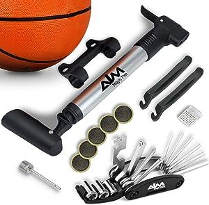 Bike Repair Kit with Pump - Bike Multitool - Tire Levers - Ball Needle - Frame Mount Mini Bike Pump Portable Presta & Schrader Compatible – Self Adhesive Patches – Bike Tire Repair Kit
