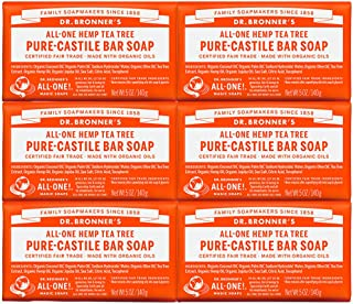 product image for Dr. Bronner's - Pure-Castile Bar Soap (Tea Tree, 5 oz, 6-Pack) - Made with Organic Oils, For Face, Body, Hair and Dandruff, Gentle on Acne-Prone Skin, Biodegradable, Vegan, Non-GMO