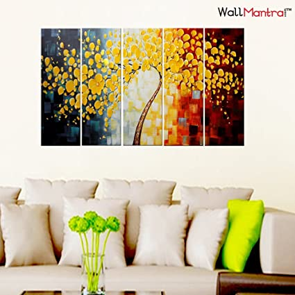 fc26f02ff WallMantra ABC Wall Painting / 5 Pieces Canvas Print Wall Hanging/Stretched  and Framed on