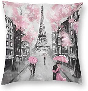 Paris Eiffel Tower Decorative Pillow Covers 18'' X 18'' Black White and Pink Throw Pillow Case for Living Room Soft Solid Cushion Case for Sofa Bedroom