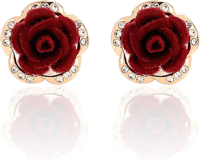 Daesar Pendiente Flor Rosa Cristal Pendiente Rojo Pendientes Chapado en Oro Mujer Aros