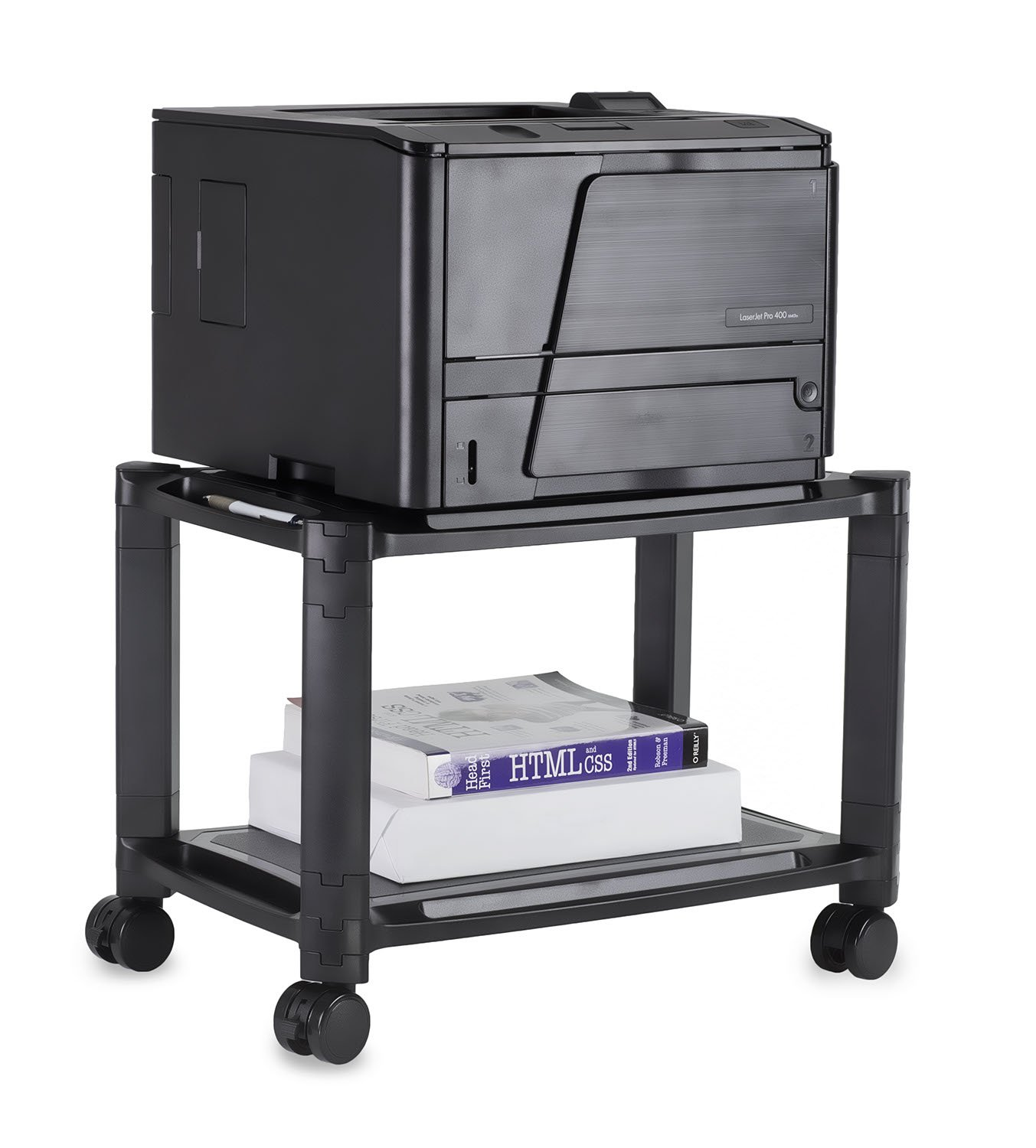 Mount-It! Under Desk Printer Stand with Wheels | Rolling Printer Cart | Height Adjustable Stacked Office Machine Cart with Paper Storage Tray, 44 Lbs Capacity, Black by Mount-It!