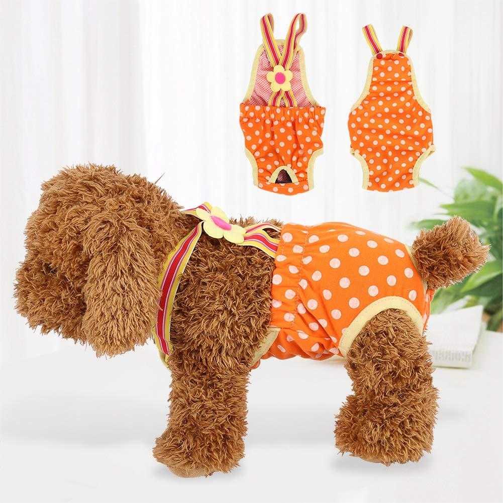 GLOGLOW 6 taglie cotone cane femmina in pantaloni di calore M riutilizzabili pantaloni sanitari fisiologici per pannolini per cani con bretelle