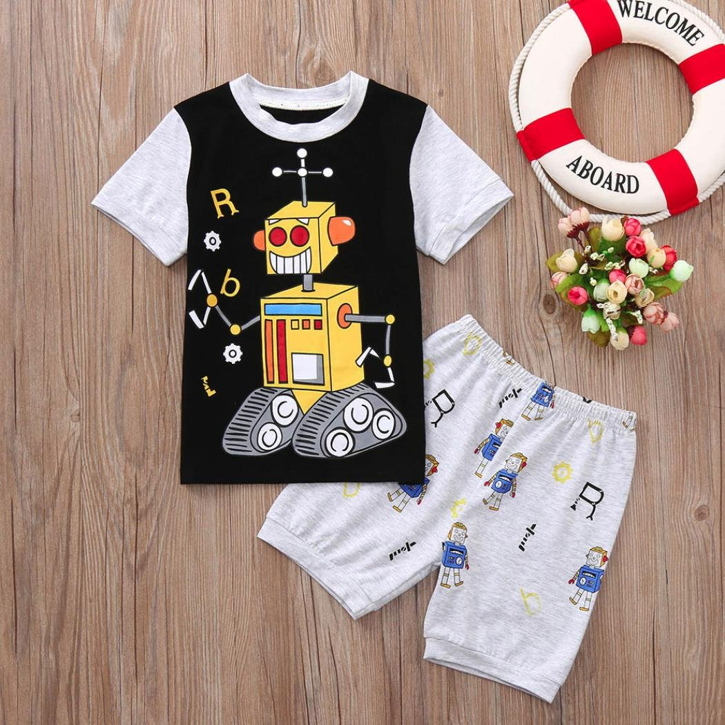1-7 Years Toddler Baby Boys Cartoon Robot T-Shirts Solid Short Sleeve Tops Outfits Set Clothes erthome Baby Boy Clothes Sets