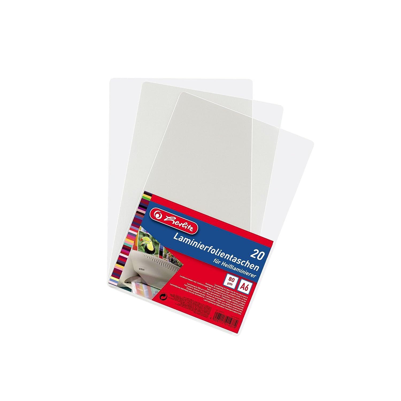 20 St/ück f/ür Hei/ßlaminierer Herlitz 10417384 Laminierfolientasche im Visitenkartenformat