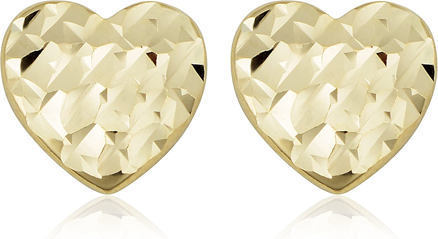 Real 14kt Yellow Gold Heart Post Earrings