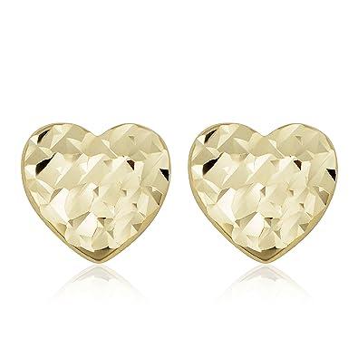 71efe7cc7 Amazon.com: 14k Yellow Gold Heart Stud Earrings: Jewelry