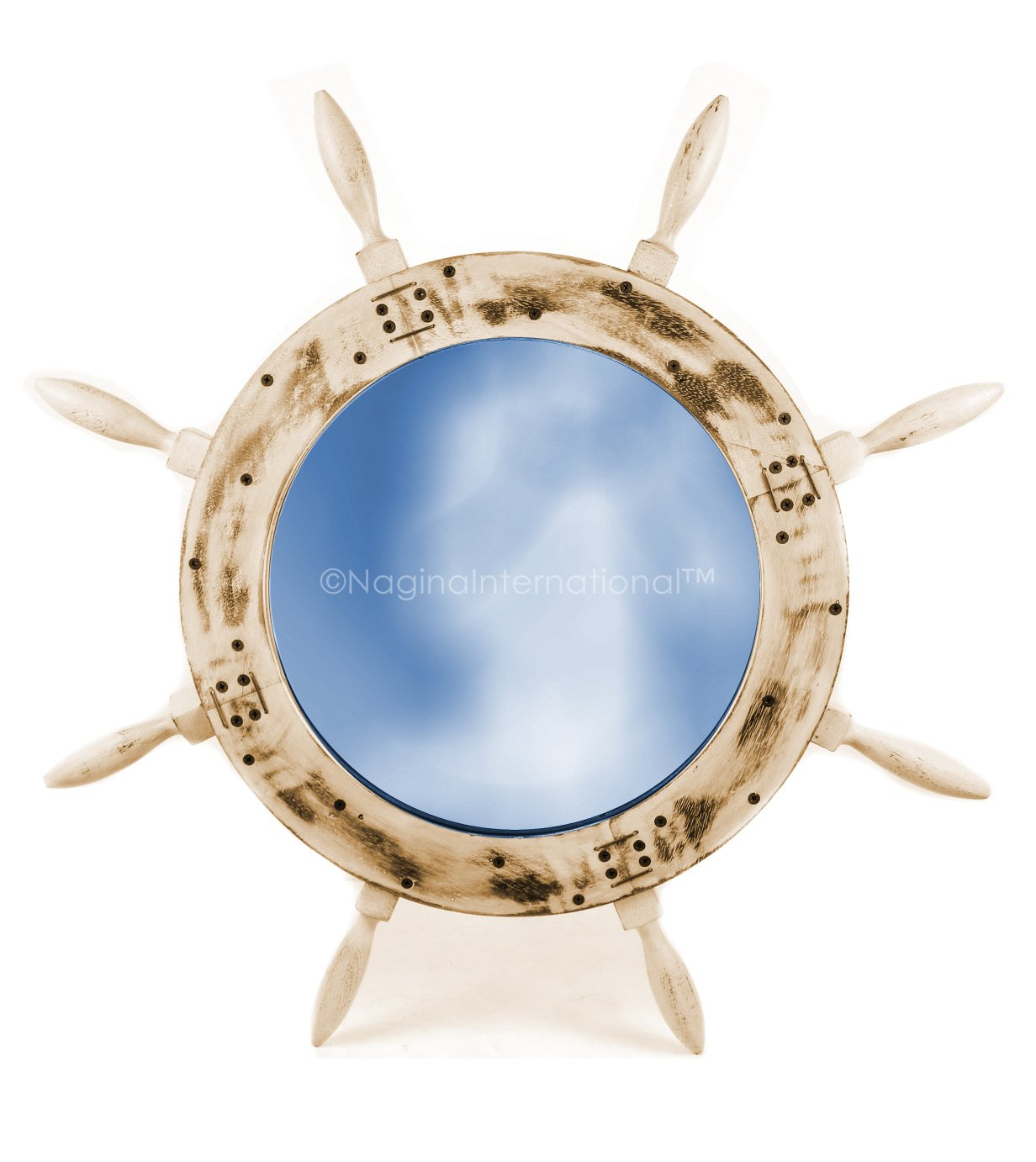 Rustic Brown 24 Inches Rustic Grey Antique Nautical Maritime Wall Mounted Mirror Ship Wheel   Bay Home Decor & Gifts   Nagina International (36 Inches, Rustic White)