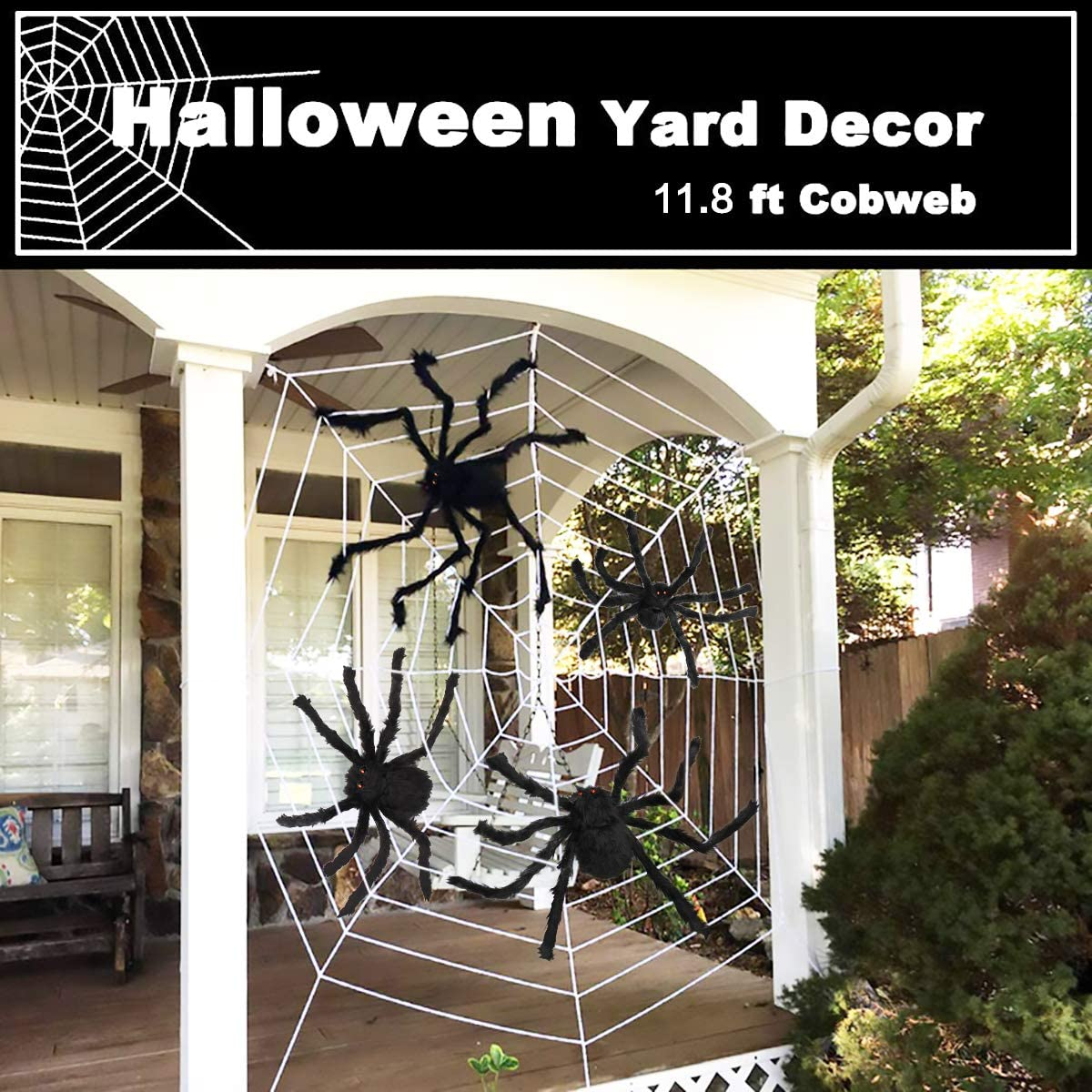 Aitey Halloween Scary Giant Spider Set with 4 Large Fake Spider Cobwebs for Window Wall and Yard Outdoor Halloween Decor Halloween Spider Decorations Spider Web 20 Small Plastic Spiders