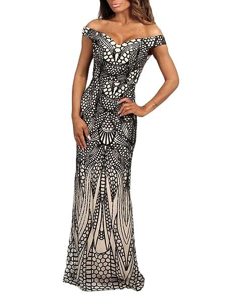 Jicjichos Womens 2017 Long Sequin Prom Dresses Mermaid Formal Gowns Size 2 Black