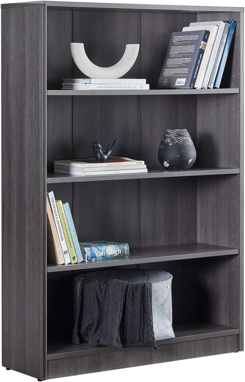 VICLLAX 4-Shelf Bookcase Adjustable Bookshelf, Carbon Grey