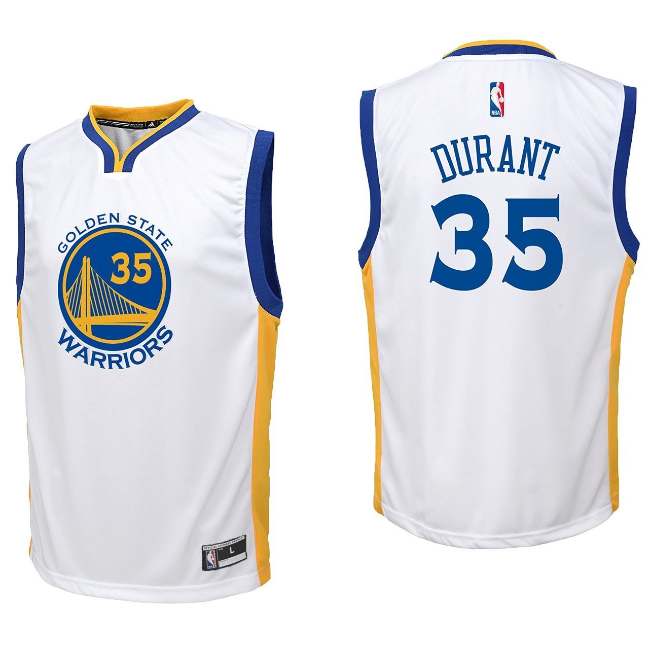 738944f02c7f4 Outerstuff Kevin Durant Golden State Warriors #35 White Youth Home Replica  Jersey