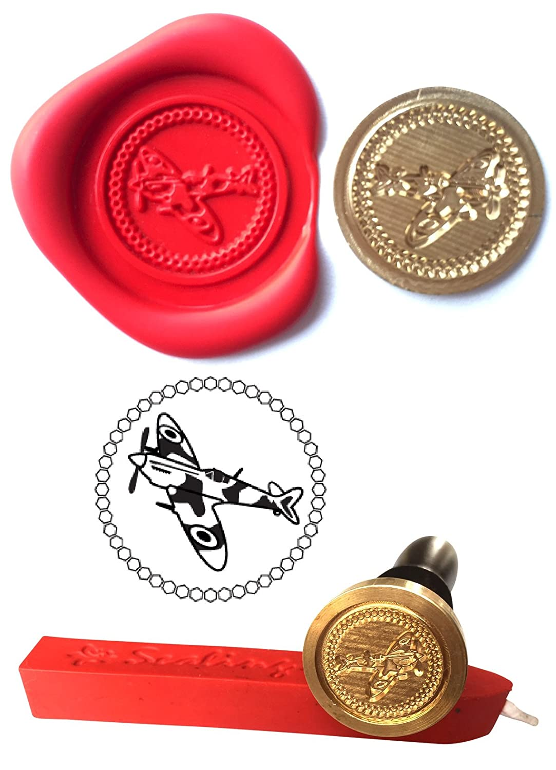 Wax Stamp, SPITFIRE Plane Aircraft Coin Seal and Red Wax Stick XWSC059-KIT (S26) GTR-Gifts