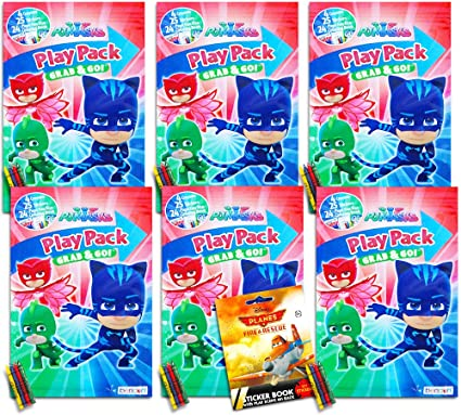 Crayons PJ Masks Party Supplies PJ Masks Party Favors Pack ~ Bundle of 6 PJ Masks Play Packs Filled with Stickers Coloring Books