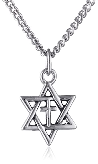 star of david with cross pendant necklace amazon co uk jewellery
