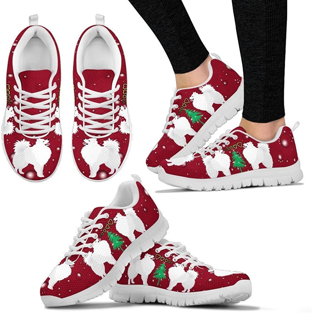 Pet Animal Designs American Eskimo Dog Print Christmas for Women-Lightweight Go Easy Walking Casual Shoes