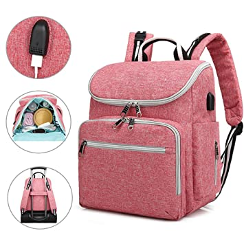 Large Mummy Diaper Bag USB//Earphone Port Baby Nappy Travel Backpack Bottle UK