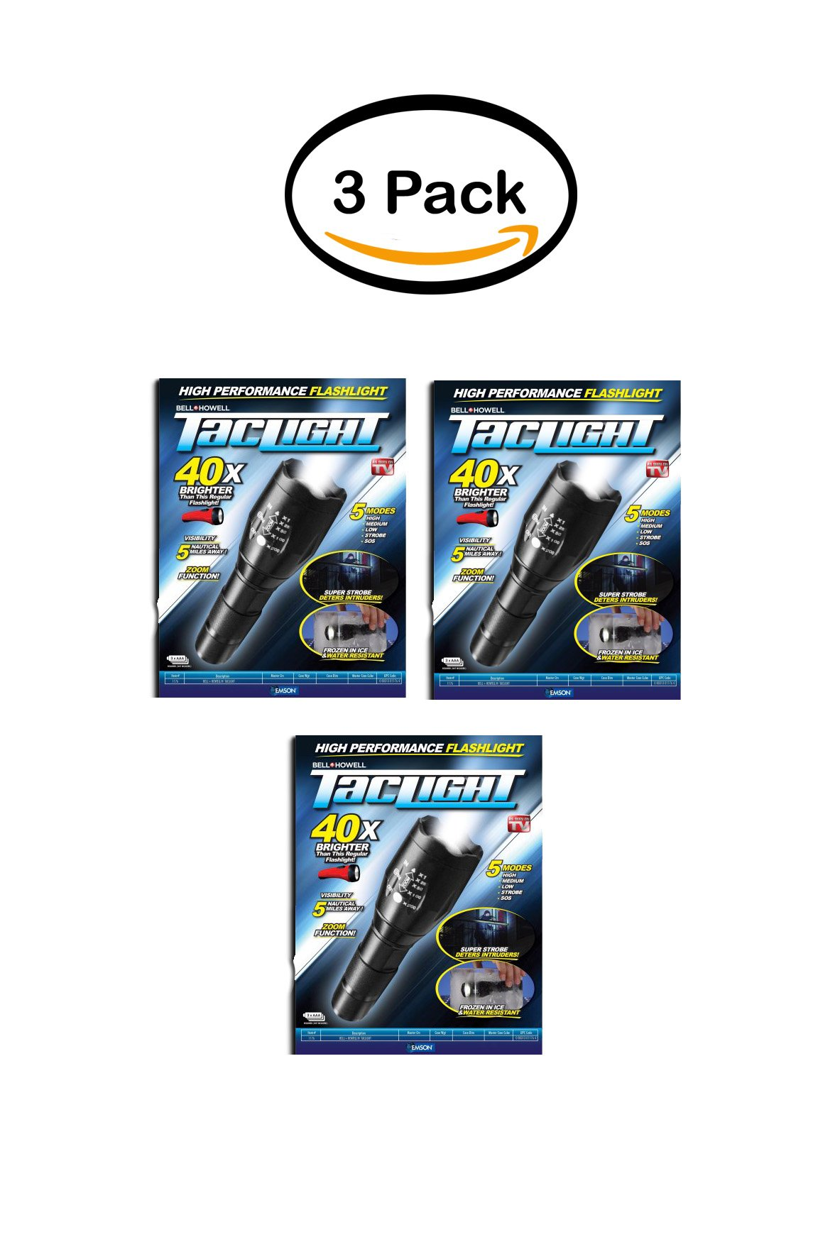 PACK OF 3 - As Seen on TV Bell + Howell Taclight LED Flashlight