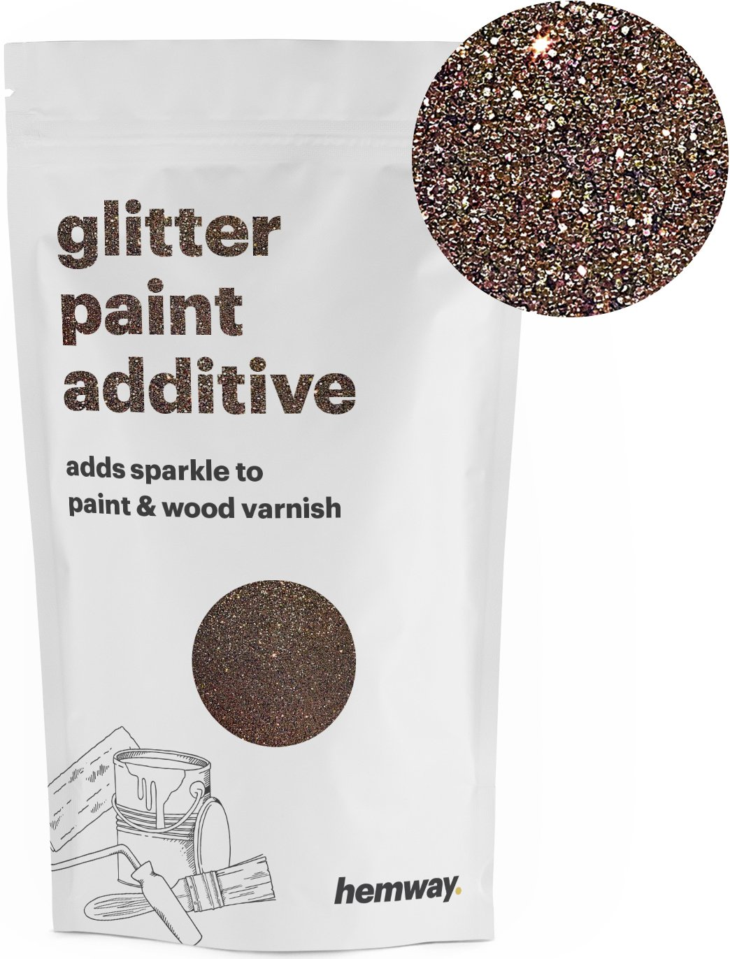 Hemway (Bronze) Glitter Paint Additive Crystals 100g/3.5oz for Acrylic Latex Emulsion Paint - Interior Exterior Wall, Ceiling, Wood, Varnish, Dead flat, Matte, Gloss, Satin, Silk
