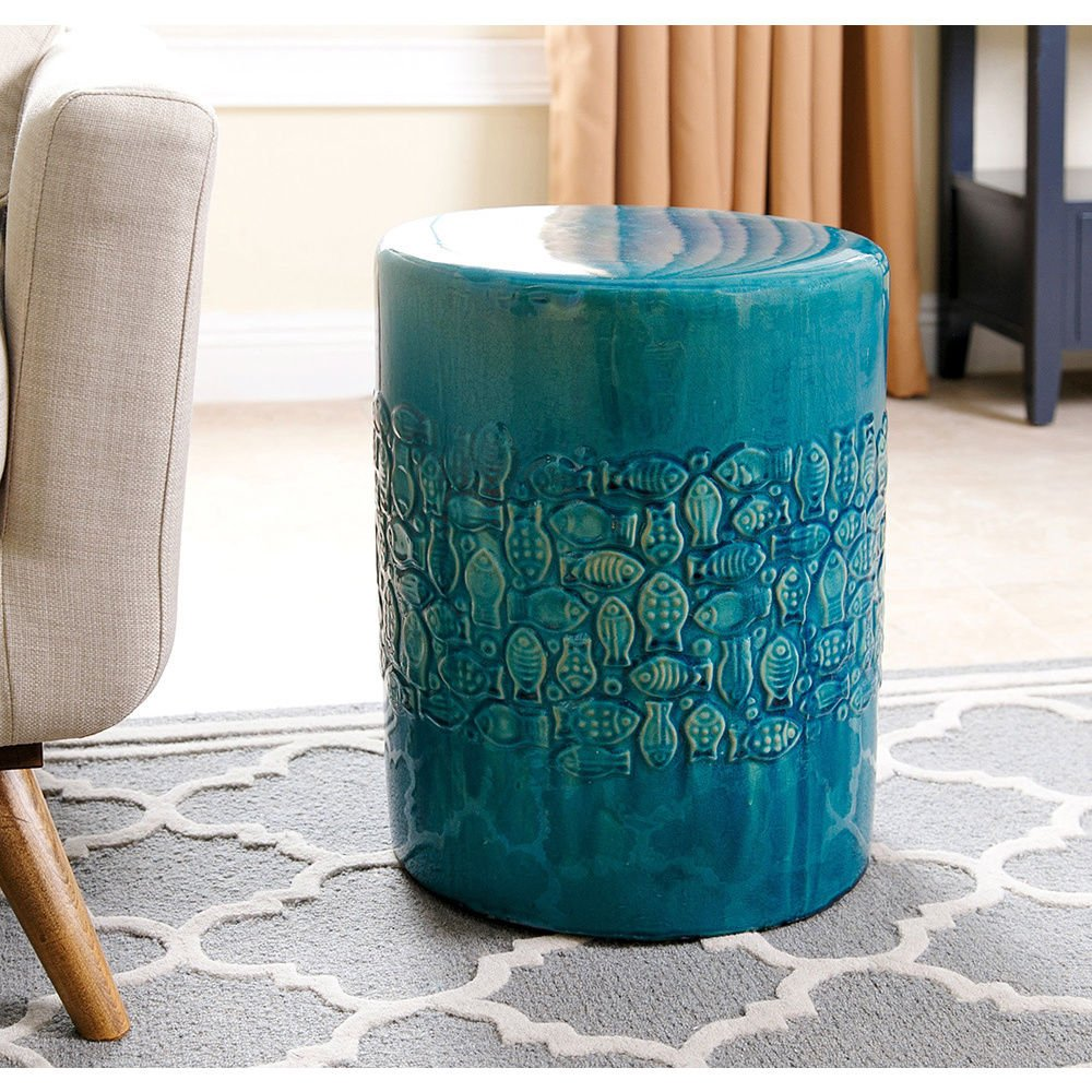 Bali Teal Ceramic Outdoor Garden Stool