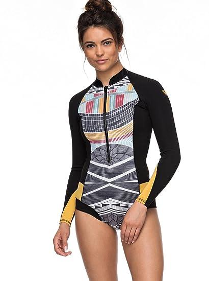 8dbb3ec2f9 Roxy 1mm POP Surf - Long Sleeve Cheeky Cut Front Zip Springsuit for Women -  Women Black  Roxy  Amazon.co.uk  Clothing