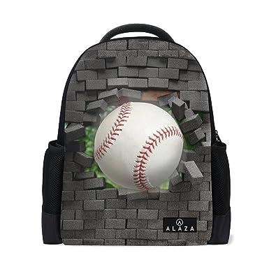 ALAZA College Backpack 3D Printing Baseball Laptop Bookbags Travel Bag for  Men Women 682280099