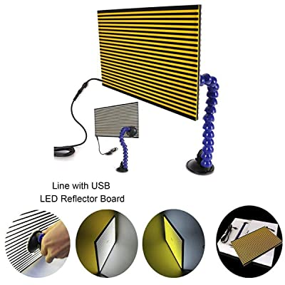 JMgist LED Stripe Line Board Paintless Dent Repair Tools Double Stripe Reflector Board PDR USB Line Board: Automotive