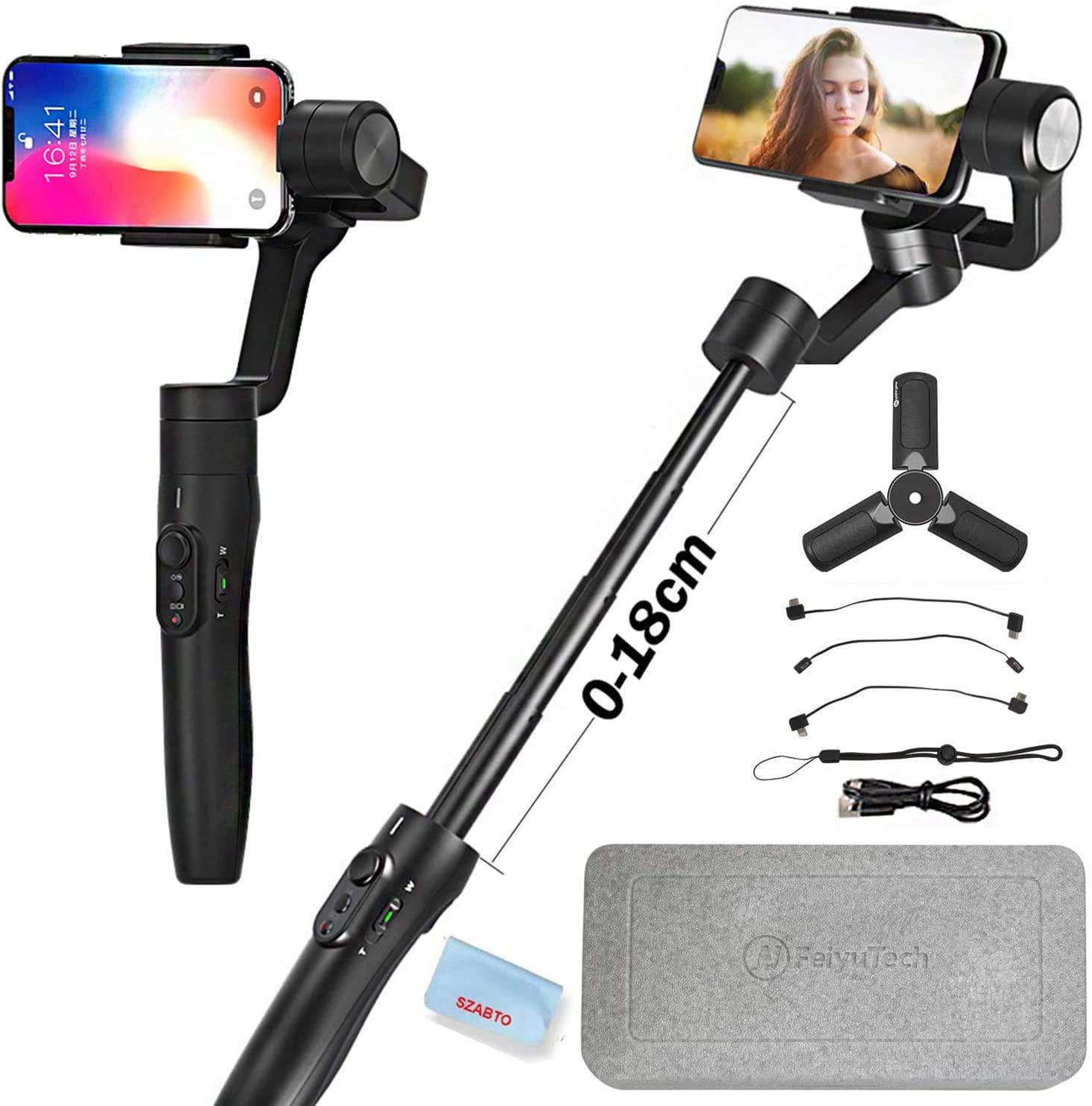 Time-Lapse /& Face Tracking,Black iOS//Android APP for Auto Panoramas Hbwz Vimble 2 Extendable Handheld 3-Axis Stabilizer Gimbal for Smartphones Anti-Shake Selfie Stick