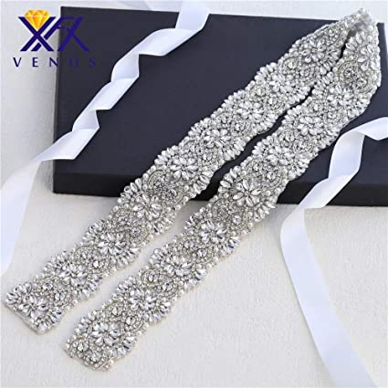 3b3716ab63 Wide Bridal Wedding Dress Sash Belt Applique 1 Yard with Crystals  Rhinestones Pearls Beaded Dacorations Handcrafted Sparkle Elegant Thin Sewn  or Hot ...