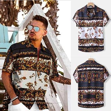 Camisa étnica para hombre con impresión tradicional Hippy Boho, camisa para hombre, elegante, Slim Fit, informal,