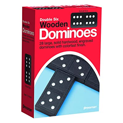 Pressman Toy Double Six Wooden Dominoes, 28 Pieces: Toys & Games