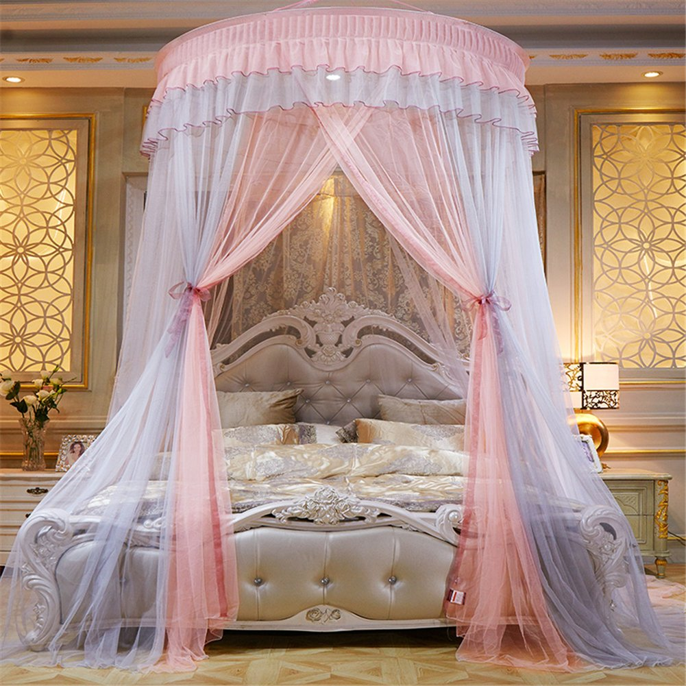 Per Extra-Large Princess Dome Netting Curtains Spell Color Hanging Canopy Play Tent Mosquito Net For Bedroom Height 270cm/106.29in,Dome Diameter 150 cm/59.05in-Gray+Pink