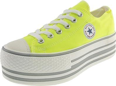 2bb04948cb4b5 Maxstar Women's C50 6 Holes Platform Canvas Low Top Neon Sneakers