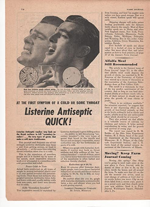 Listerine Antiseptic Quick! At The First Symptom Of A Cold