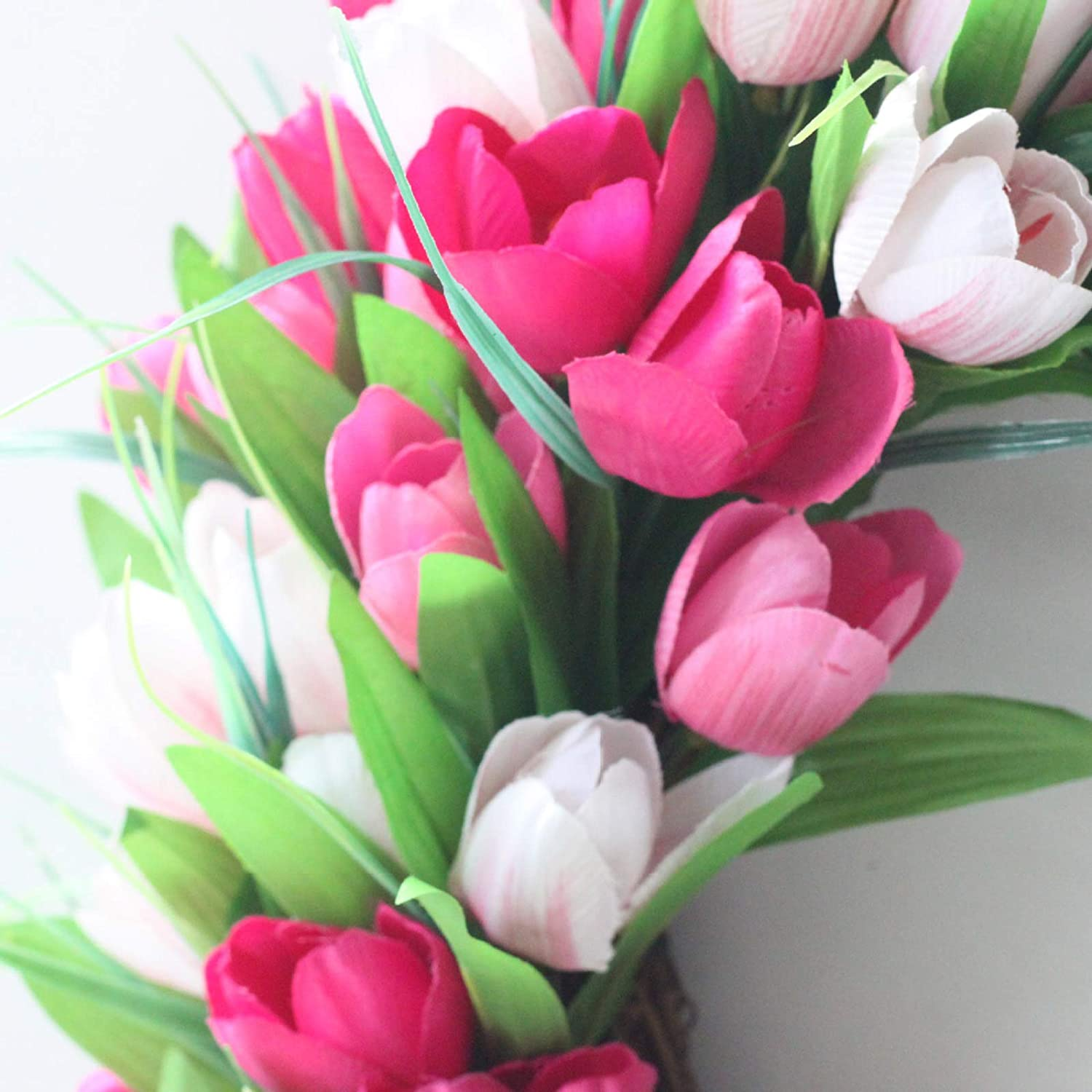 Home Fake Flower Wreaths for Spring 19.7 Inch Pink Tulip Wreath Rtway11 Artificial Tulip Flower Wreath for Front Door Summer Winter Wedding