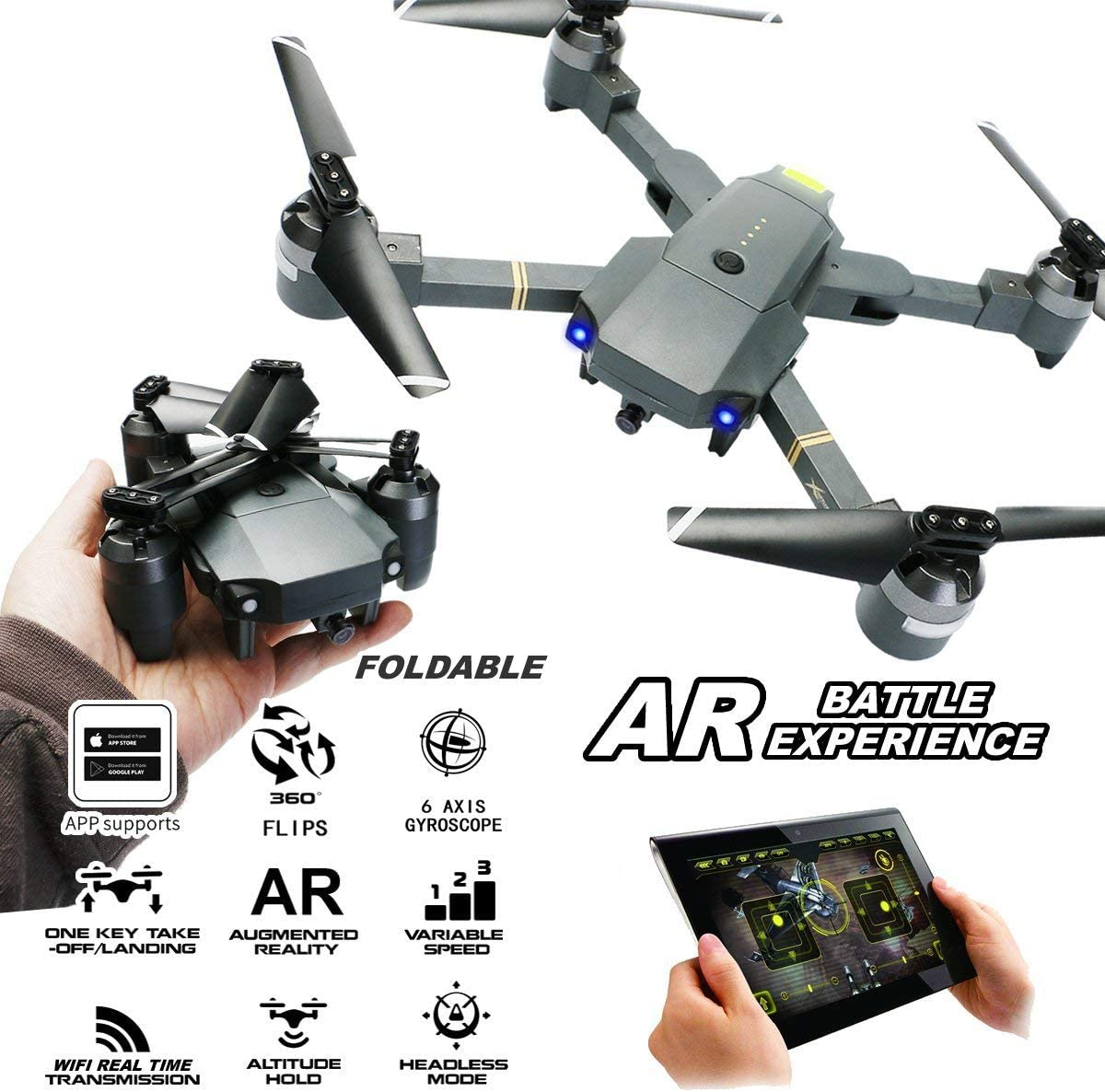Xianxian88 RC Drone Gran Angular de posicionamiento de Flujo óptico Plegable con 1080P WiFi HD cámara Mapa de Disparo aéreo Quadcopter: Amazon.es: Hogar