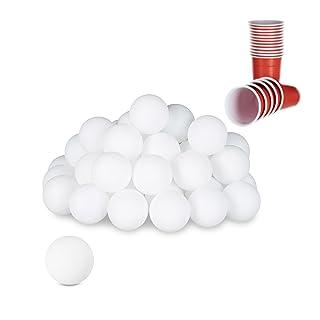Relaxdays- Palline da Ping Pong in Plastica, 48 Pezzi, Colore Bianco, 38 mm, 10021524