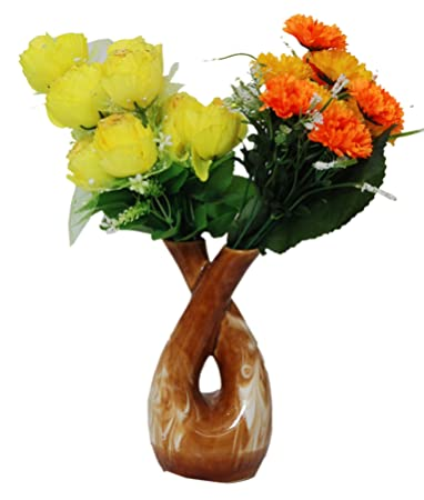 Buy Mushti Brown And White Color Ceramic Two Sides Open Flower Vase