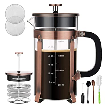 Veken French Press Coffee Maker (8 cups, 34 oz), 304 Stainless Steel Coffee Press with 4 Filter Screens, Durable Easy Clean Heat Resistant Borosilicate Glass - 100% BPA Free