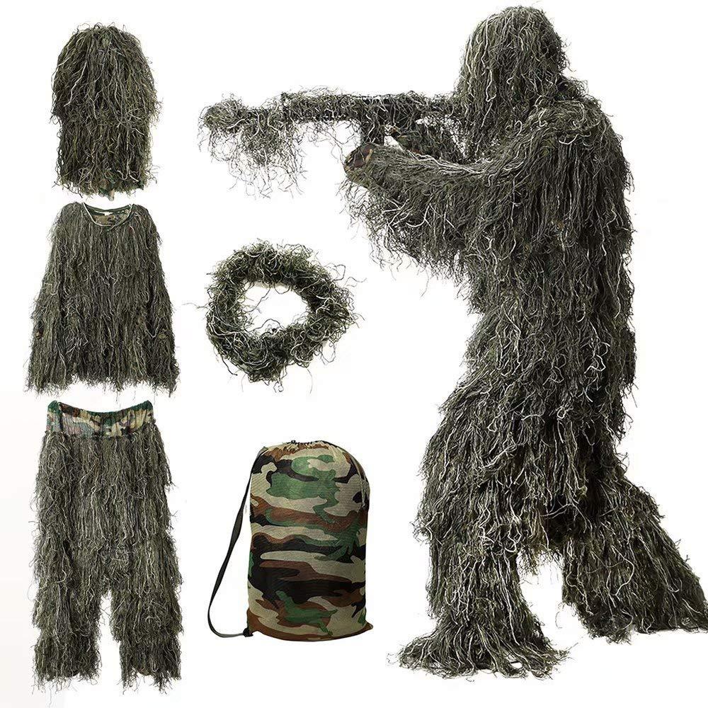 WEIFAN Outdoor Child 3D Camouflage Poncho Camo Mantello del Mantello Stealth Ghillie Abito Militare CS CS Caccia al Bosco