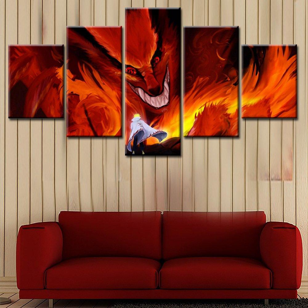 Pangoo art Frameless 5 Pcs Japanese Anime Naruto Poster Print Canvas Painting Wall Decor (Naruto,8x12 x2pcs,8x16 x2pcs,8x20 x1pcs)